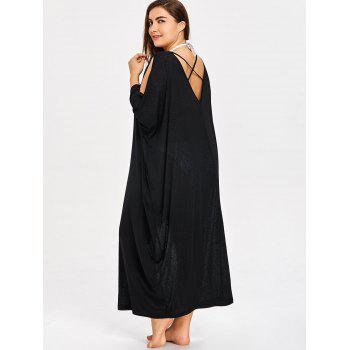 Plus Size Batwing Sleeve Cover Up Dress - BLACK 5XL
