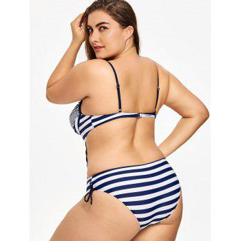 Plus Size Striped Backless Swimsuit - STRIPE XL