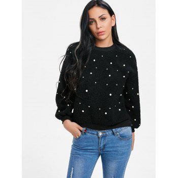 Faux Shearling Beaded Sweatshirt - BLACK M