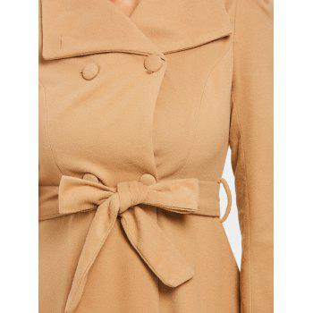 Double Breasted Trench Wool Coat - KHAKI S