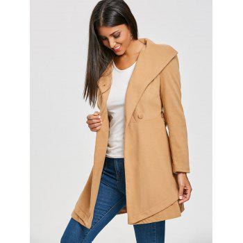 Double Breasted Trench Wool Coat - KHAKI M