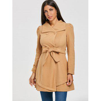 Double Breasted Trench Wool Coat - KHAKI L