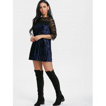 Pleated Lace Panel Velvet Dress - BLUE L