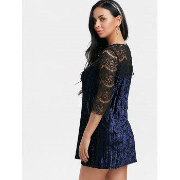Pleated Lace Panel Velvet Dress - BLUE XL
