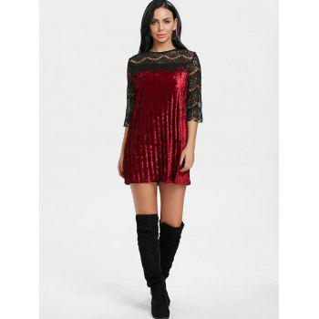 Pleated Lace Panel Velvet Dress - WINE RED M