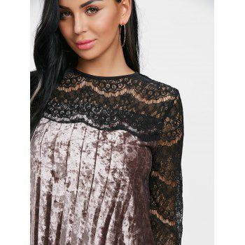 Pleated Lace Panel Velvet Dress - COFFEE M