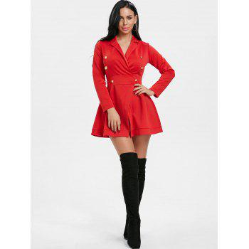 Button Lapel Collar Long Sleeve Dress - RED S