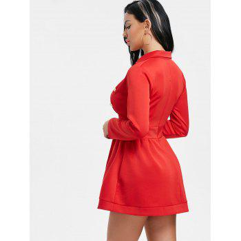 Button Lapel Collar Long Sleeve Dress - RED M
