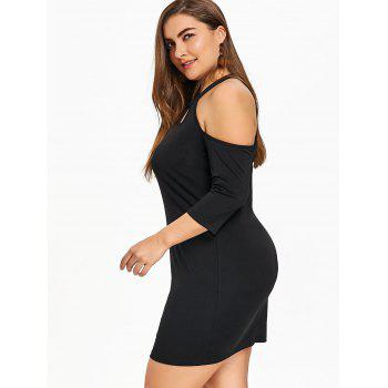 Plus Size Cold Shoulder Bodycon Dress - BLACK BLACK