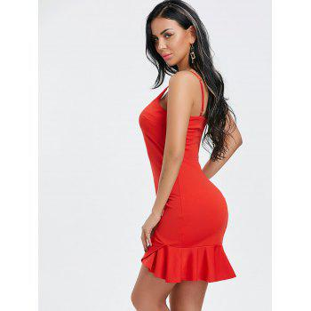 Ruffle Spaghetti Strap Mini Dress - RED L