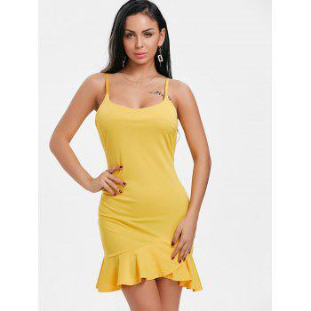 Ruffle Spaghetti Strap Mini Dress - YELLOW XL