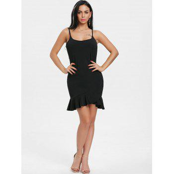 Ruffle Spaghetti Strap Mini Dress - BLACK M