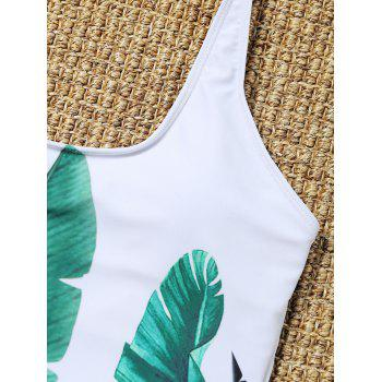 Palm Leaf Padded One Piece Bathing Suit - WHITE M