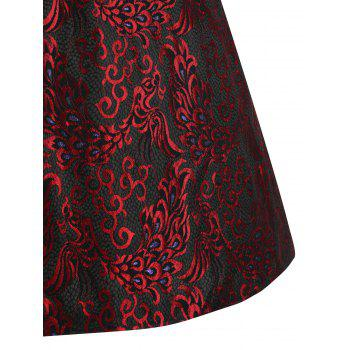 Paisley Plus Size Midi 1950s Vintage Dress - RED 3XL