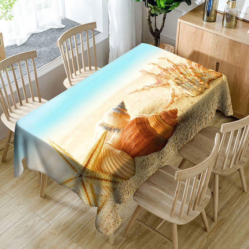 Beach Conch Starfish Print Waterproof Table Cloth - COLORMIX W54 INCH * L72 INCH