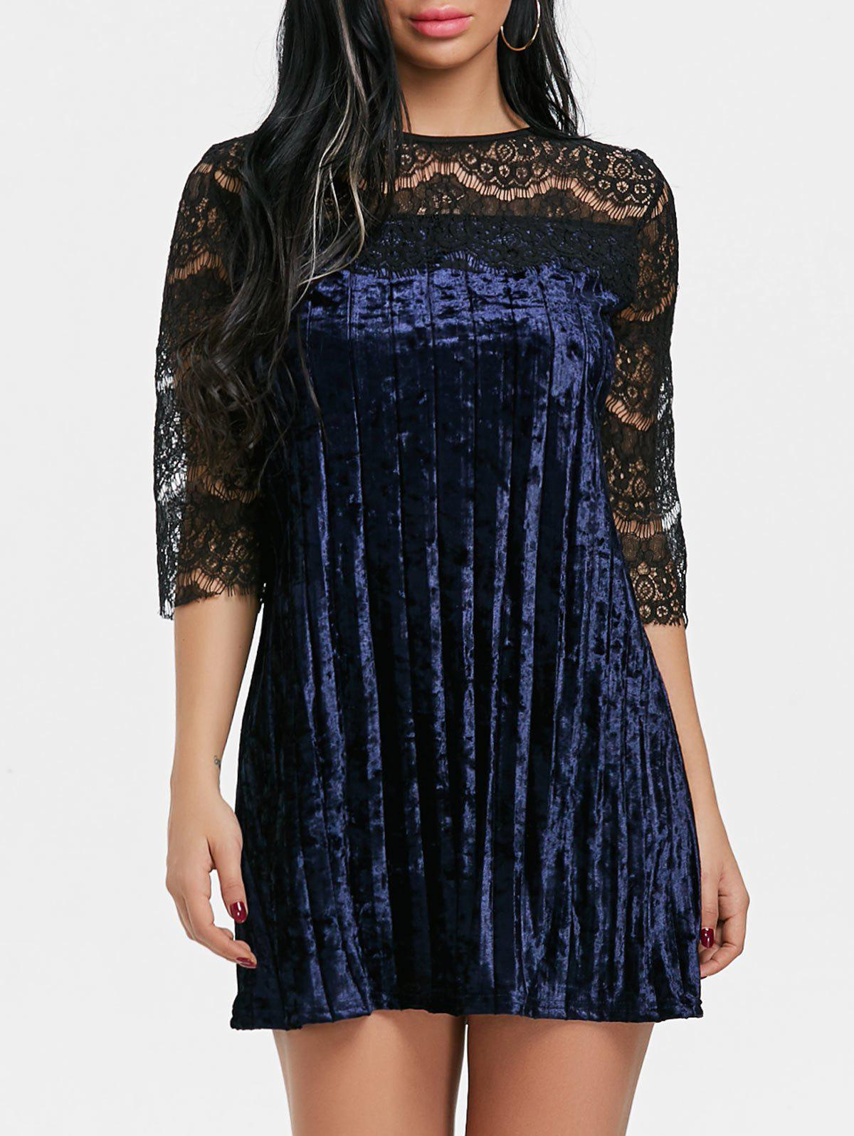 Pleated Lace Panel Velvet Dress velvet turtleneck pleated dress