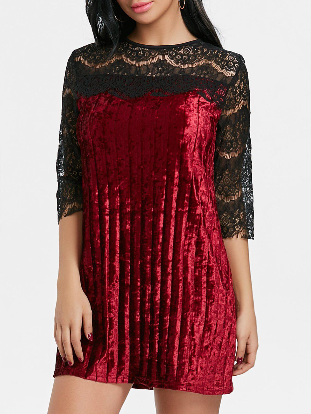 Pleated Lace Panel Velvet Dress - WINE RED S