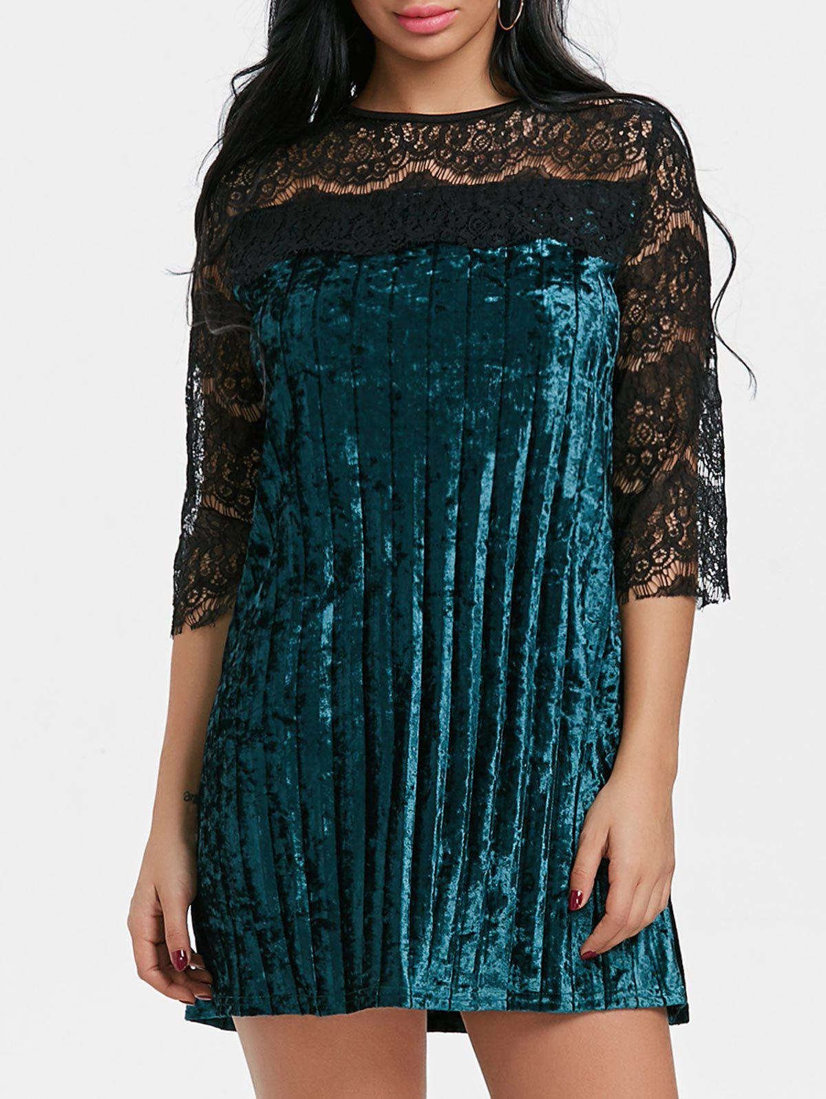 Pleated Lace Panel Velvet Dress - GREEN S