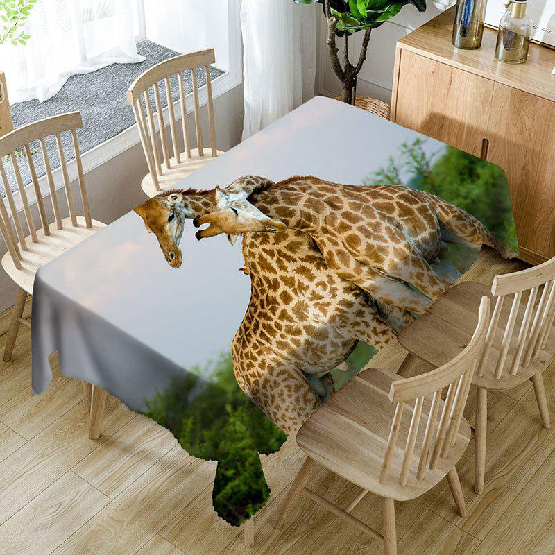 3D Romantic Giraffe Couple Printed Waterproof Table Cloth - GIRAFFE W60 INCH * L84 INCH
