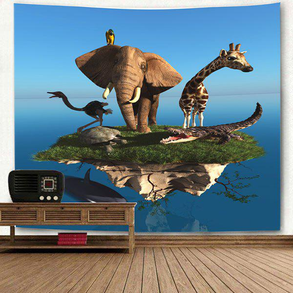 Floating Island Animal Printed Wall Hanging Tapestry - BLUE W79 INCH * L71 INCH