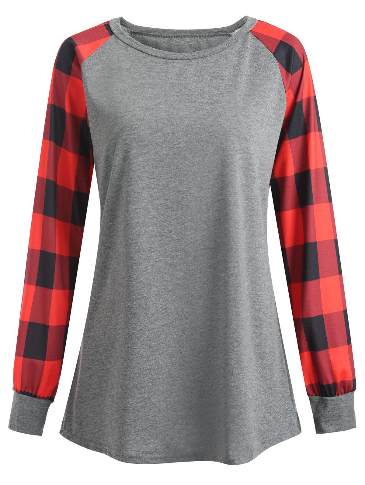 Plus Size Plaid Panel Raglan Sleeve  T-shirt - RED 4XL