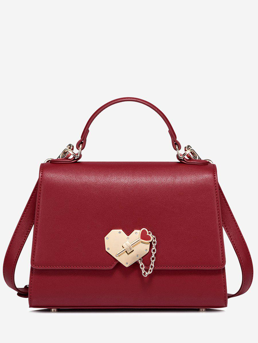 Heart Metal Embellished Handbag - RED