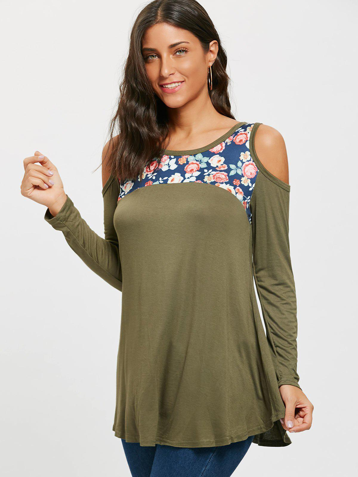 Floral Printed Panel Long Sleeve Cold Shoulder T-shirt - ARMY GREEN L