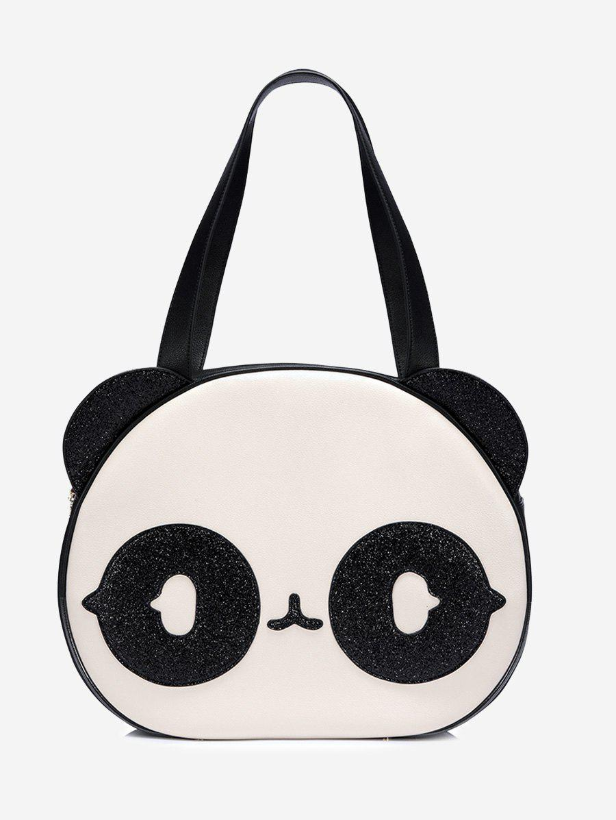 Panda Pattern Color Block Funny Shoulder Bag - WHITE
