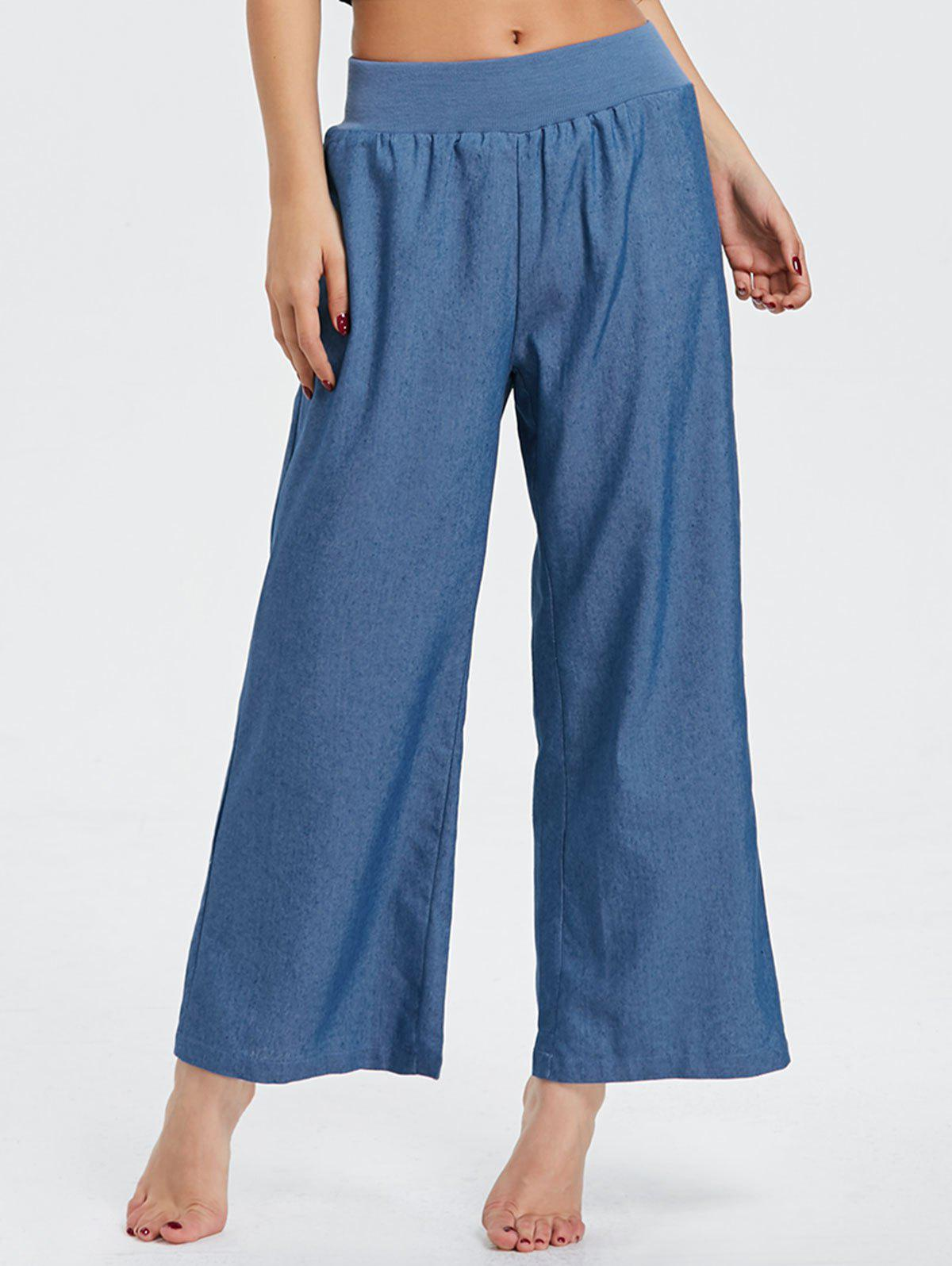 Wide Leg Elastic Waist Denim Pants - BLUE S