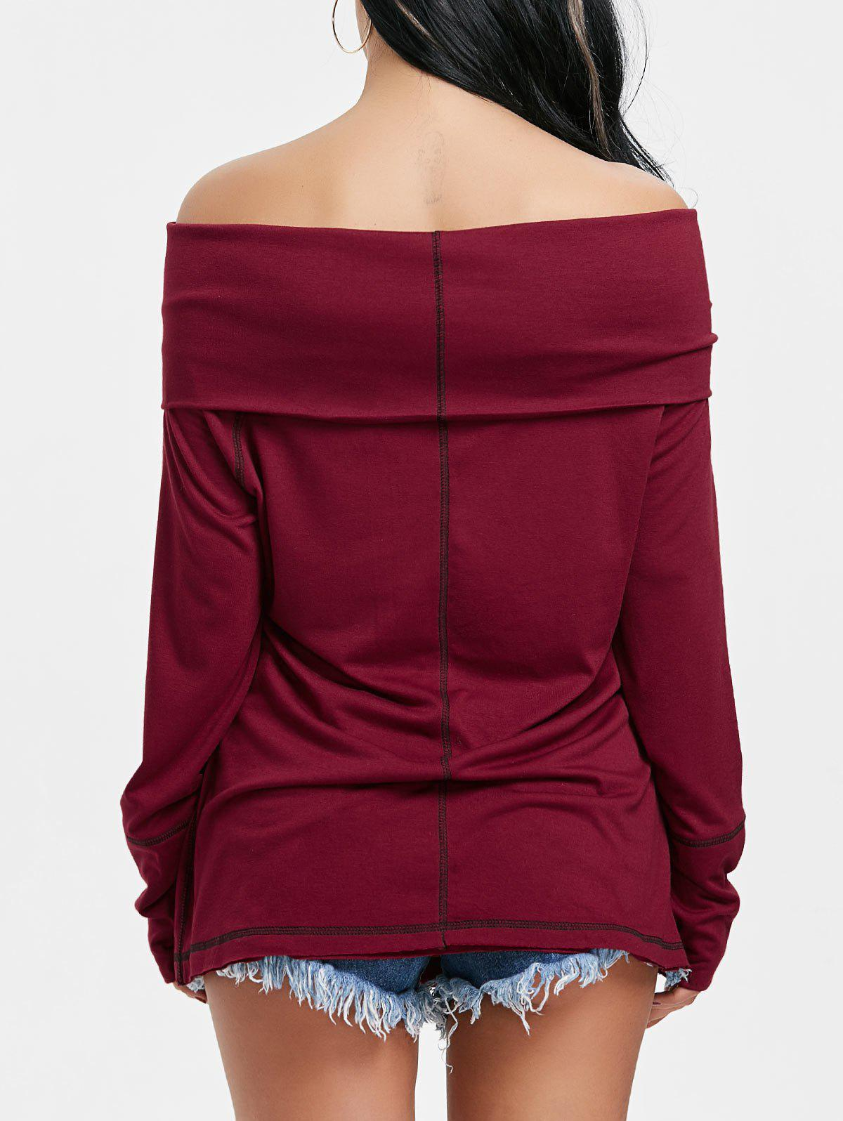 Convertible Off The Shoulder T-shirt - WINE RED XL