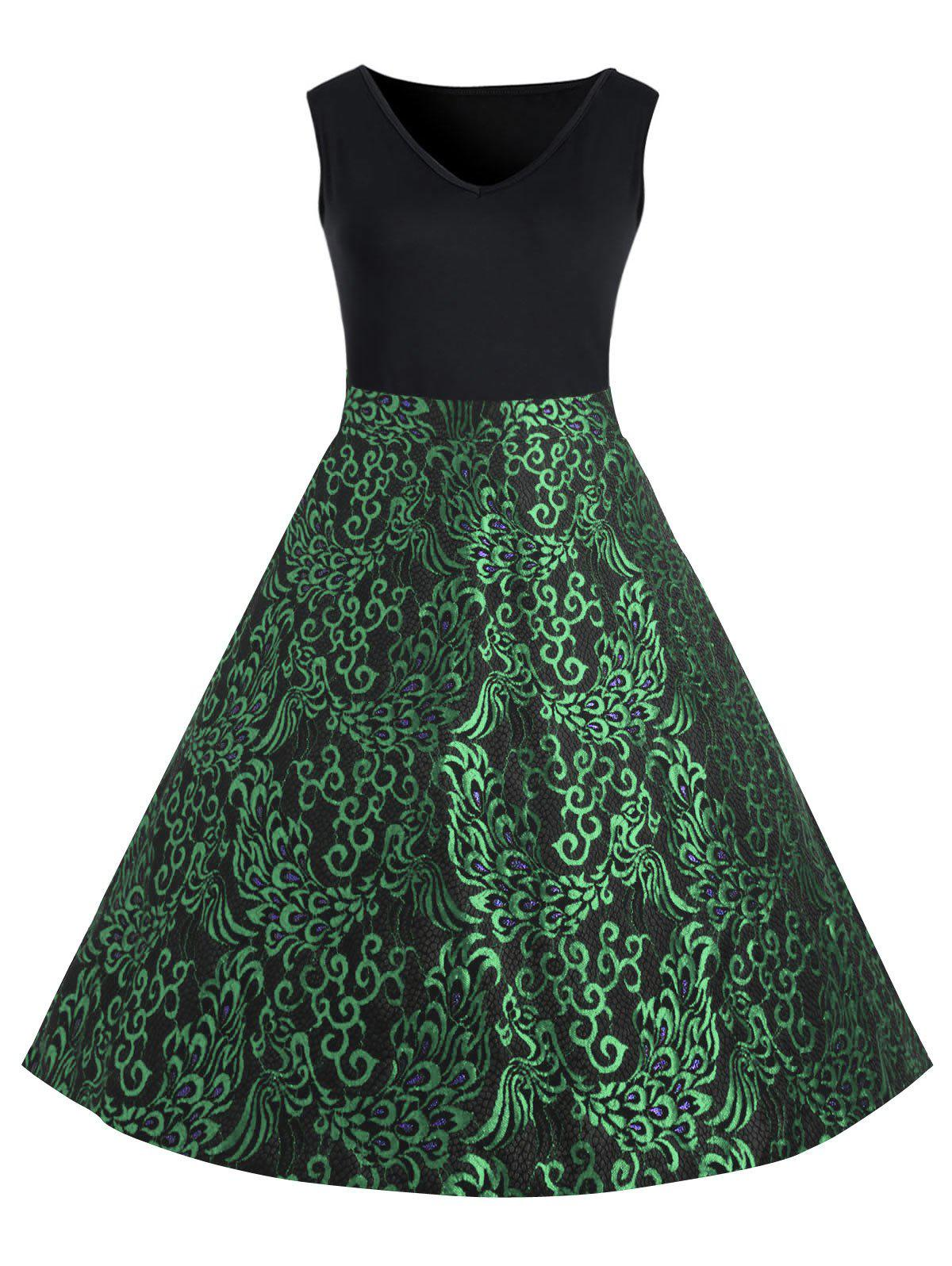 Paisley Plus Size Midi 1950s Vintage Dress - GREEN 2XL