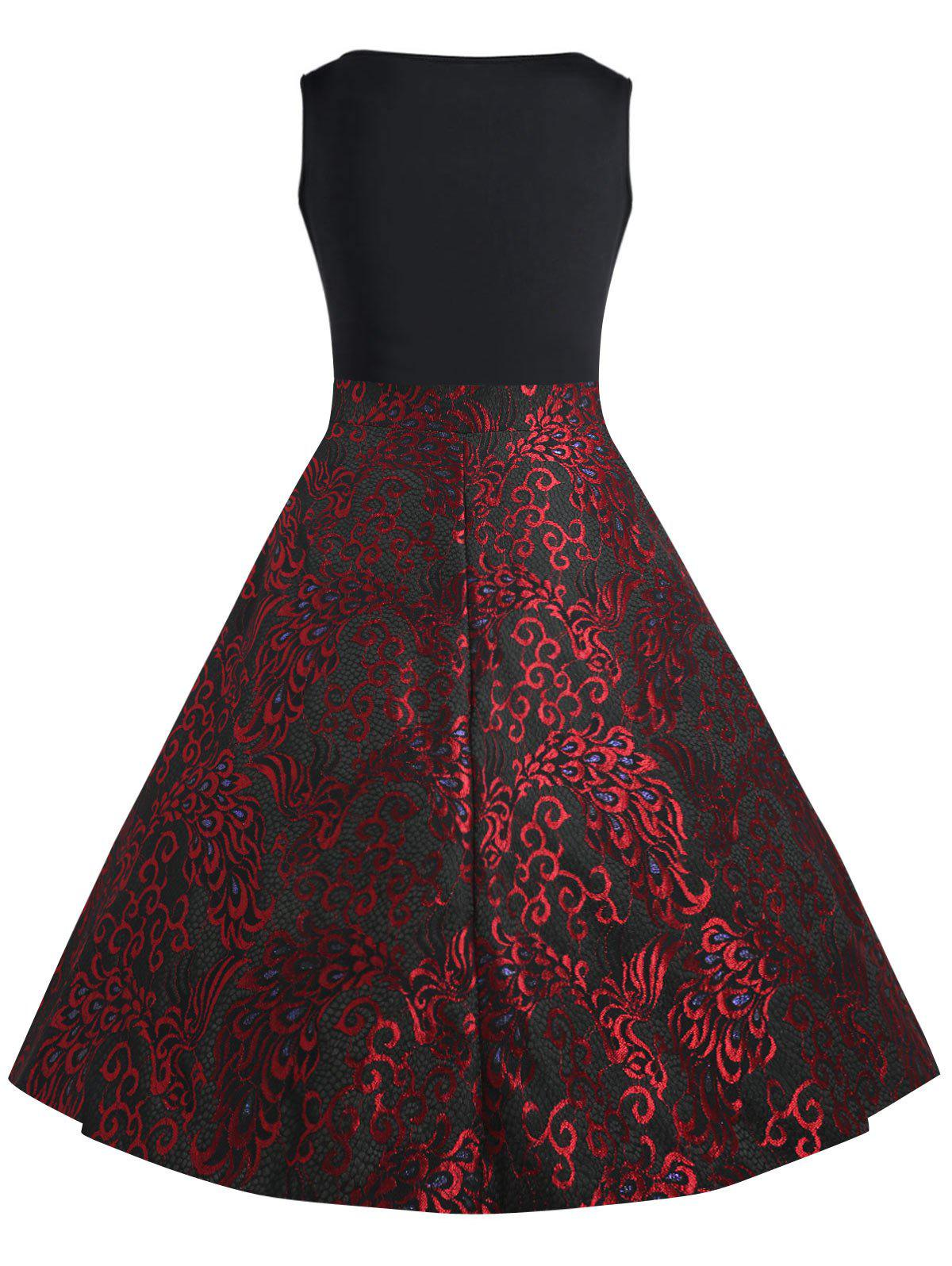 Paisley Plus Size Midi 1950s Vintage Dress - RED 5XL