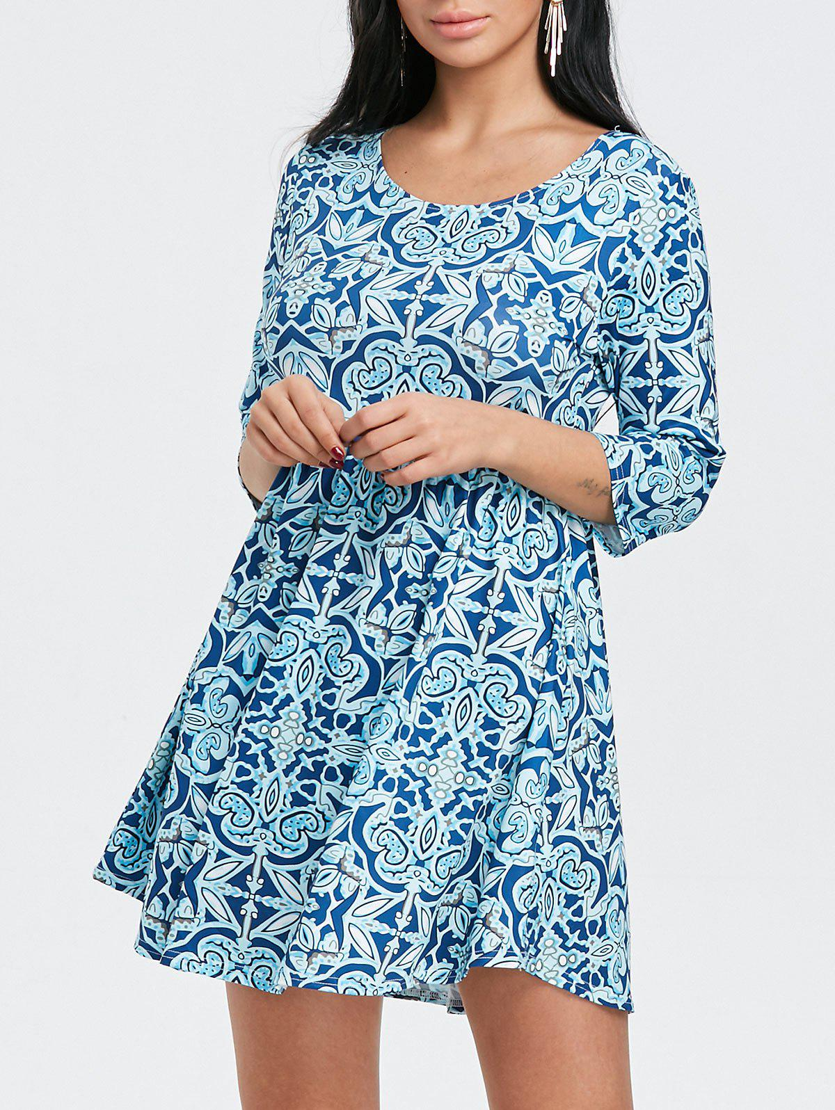 Scoop Neck Floral Print Mini Dress - BLUE 2XL