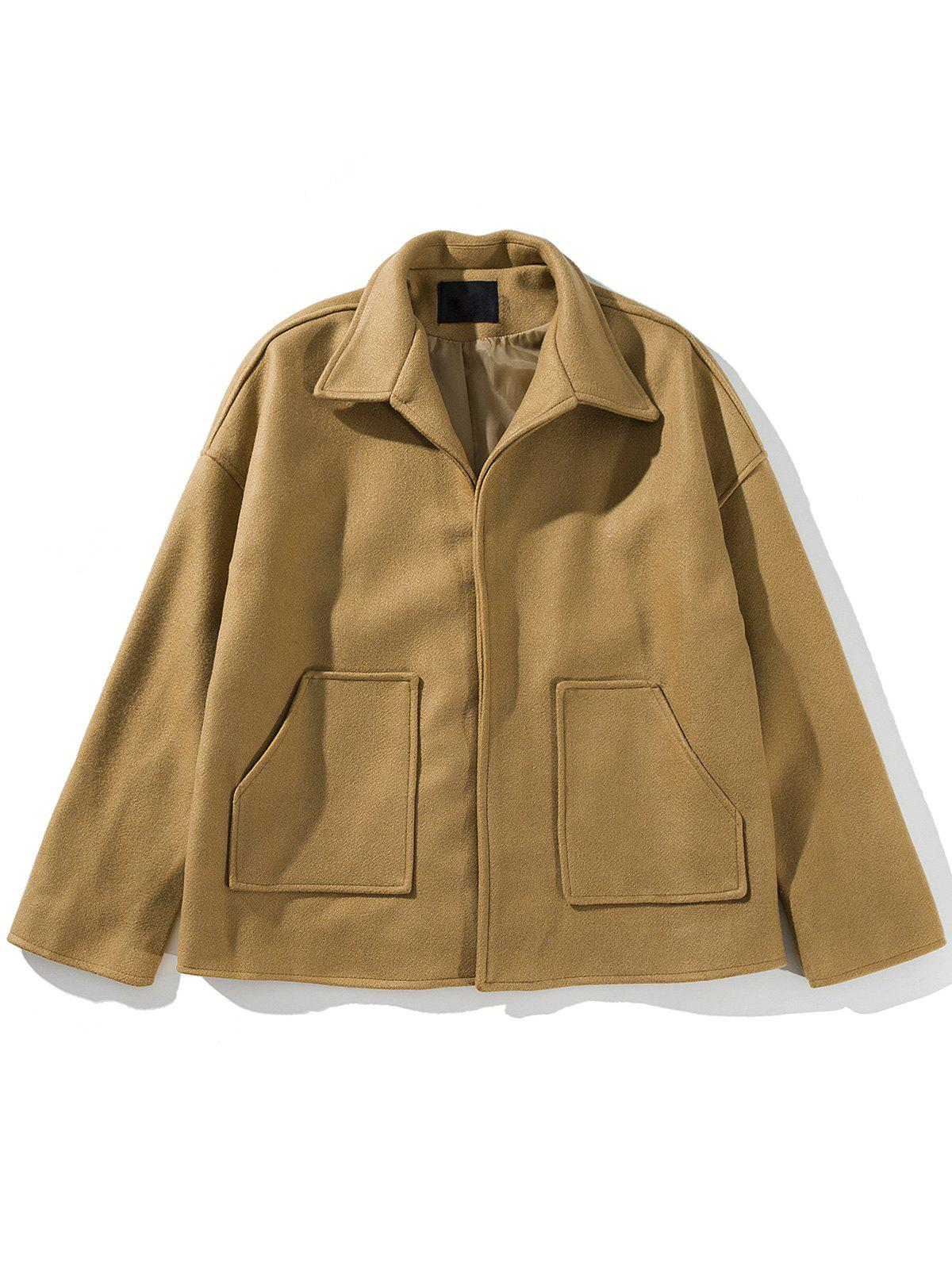 Cloak Pockets Woolen Jacket - KHAKI 2XL