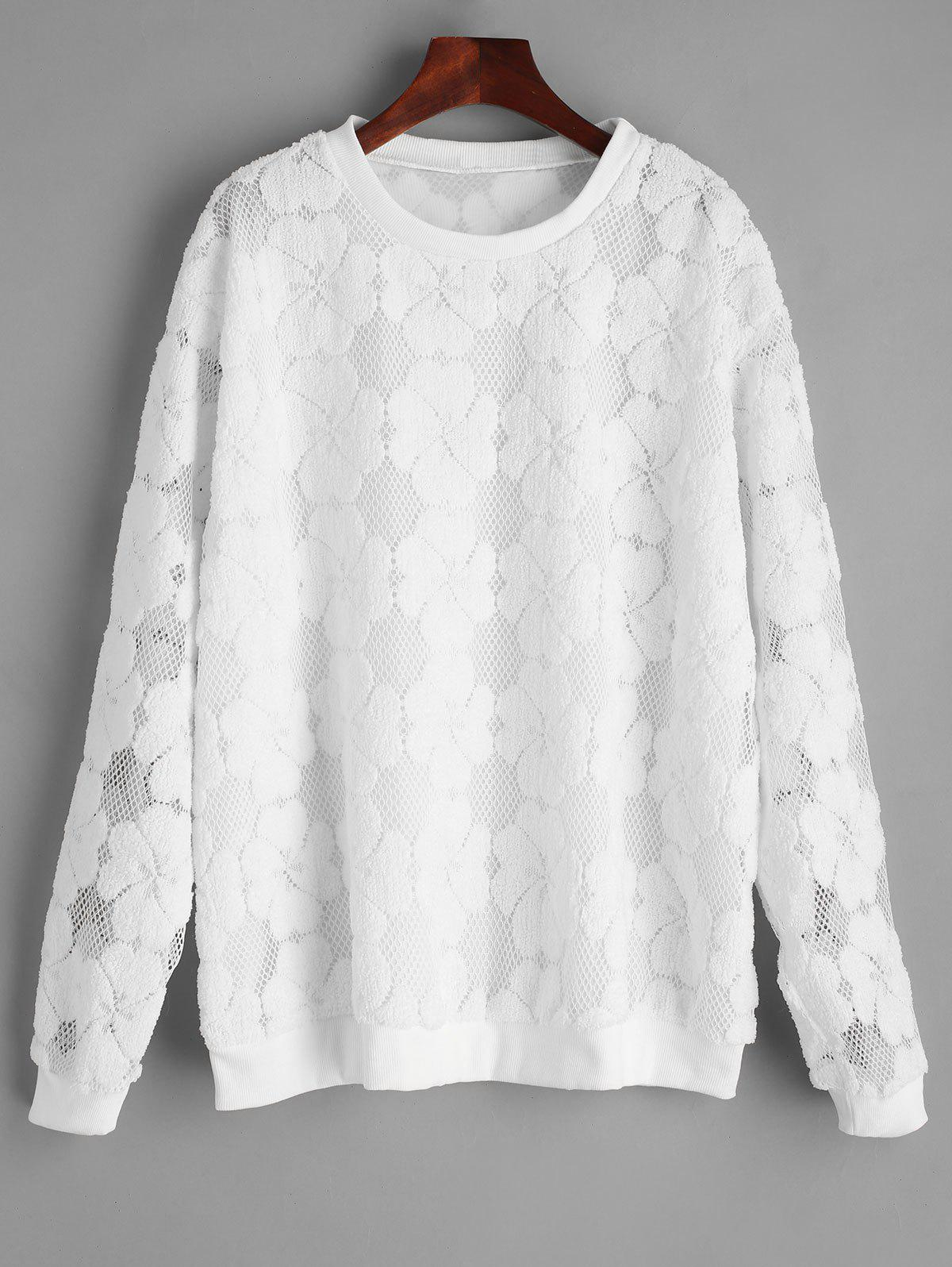 Short Plus Size Embroidery Lace Sweatshirt - WHITE 3XL