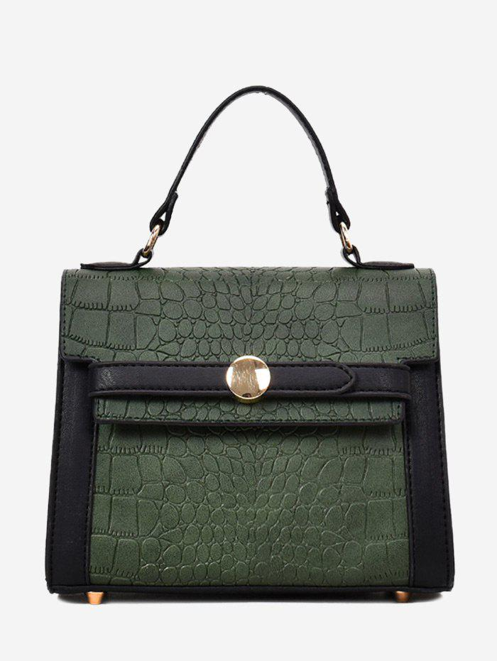 Faux Leather Embossing Handbag - GREEN