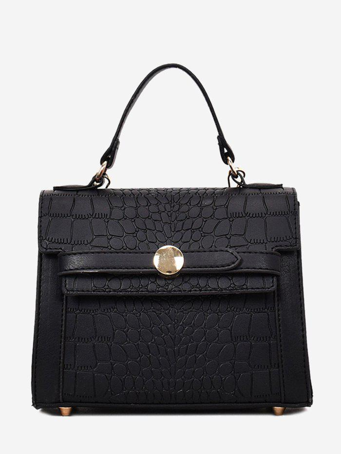 Faux Leather Embossing Handbag - BLACK