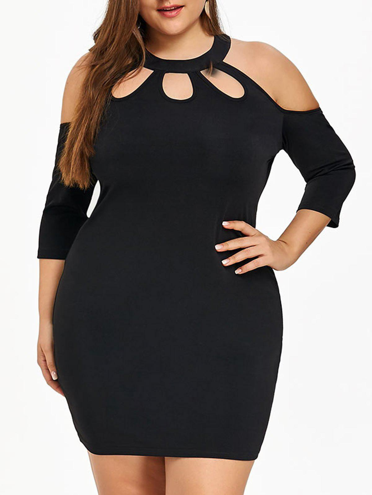 Plus Size Cold Shoulder Bodycon Dress - BLACK 5XL