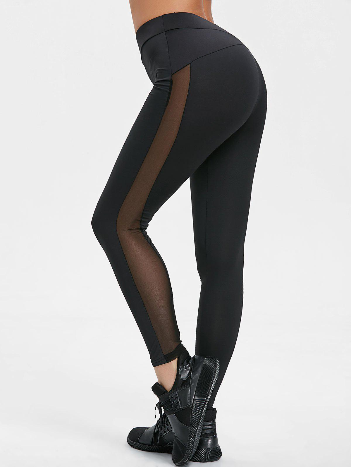 High Waisted Sheer Mesh Insert Yoga Pants - BLACK S