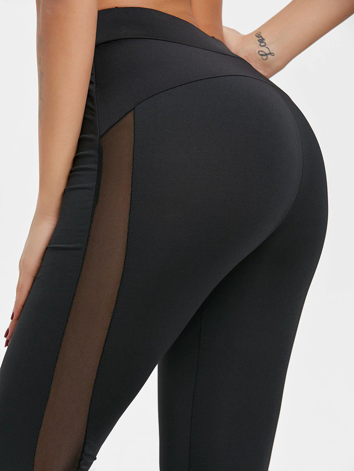 High Waisted Sheer Mesh Insert Yoga Pants - BLACK XL