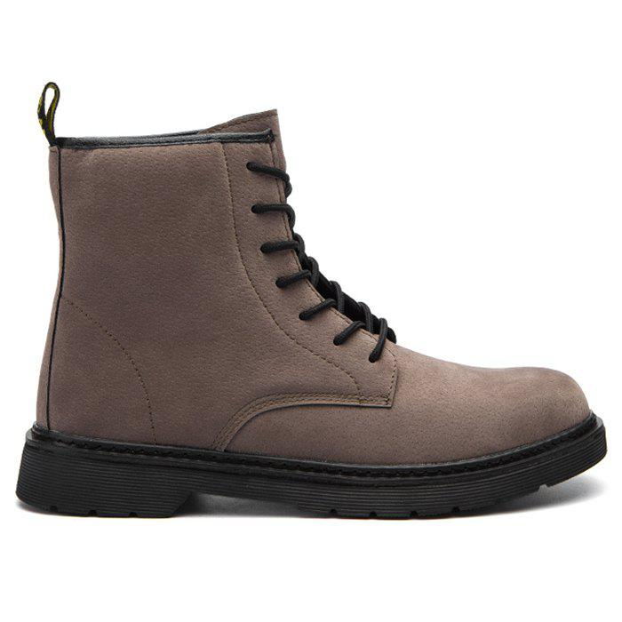 Back Pull-tab Tie Up Chukka Boots - DEEP BROWN 42