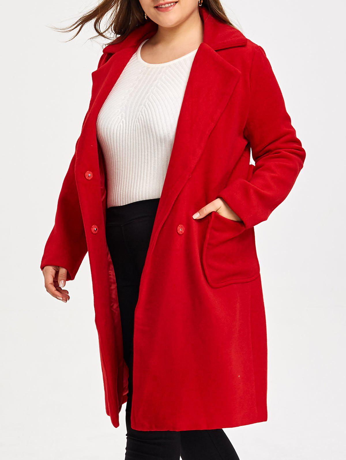 Plus Size Belted Wool Blend Trench Coat - RED 2XL