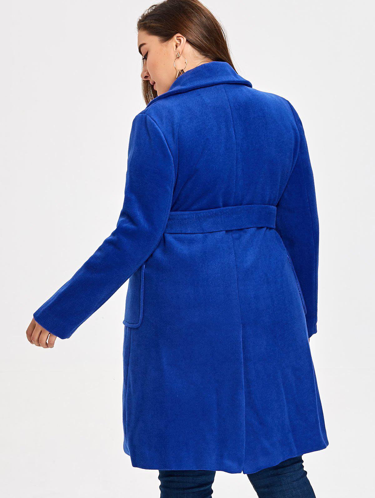 Plus Size Belted Wool Blend Trench Coat - ROYAL 3XL