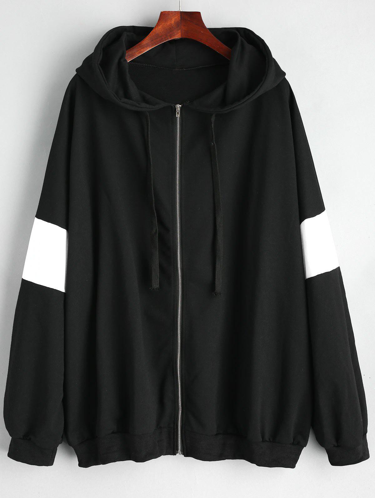 Plus Size Zip Up Color Block Hoodie - BLACK 3XL