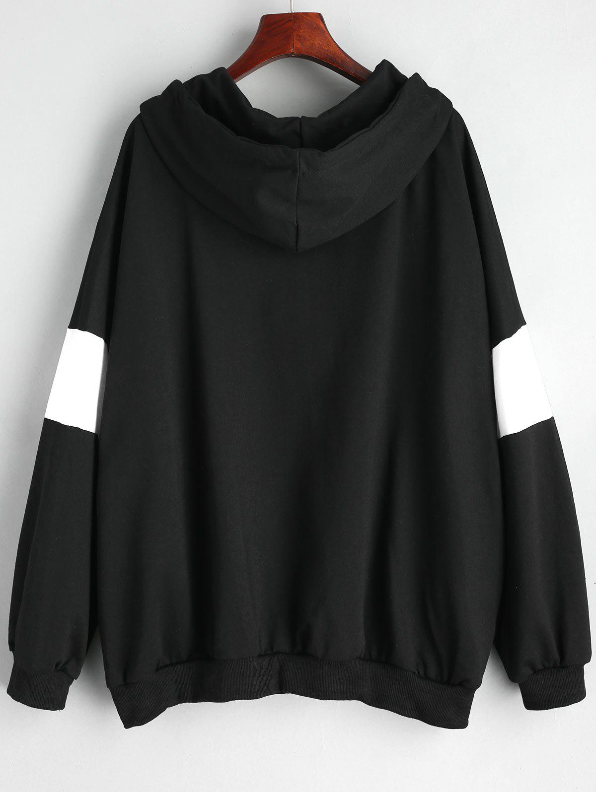 Plus Size Zip Up Color Block Hoodie - BLACK 5XL