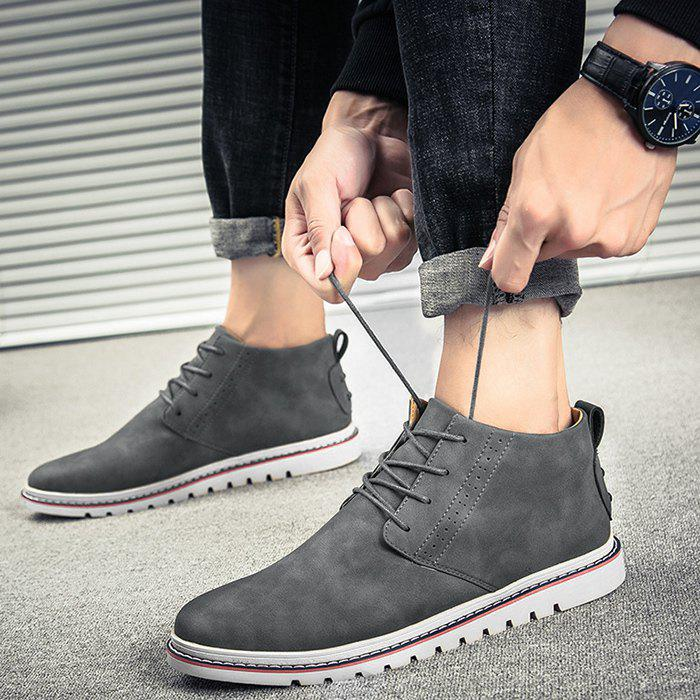 Breathable Studs Faux Leather Casual Shoes - GRAY 40