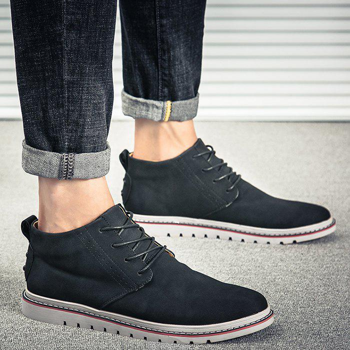 Breathable Studs Faux Leather Casual Shoes - BLACK 43