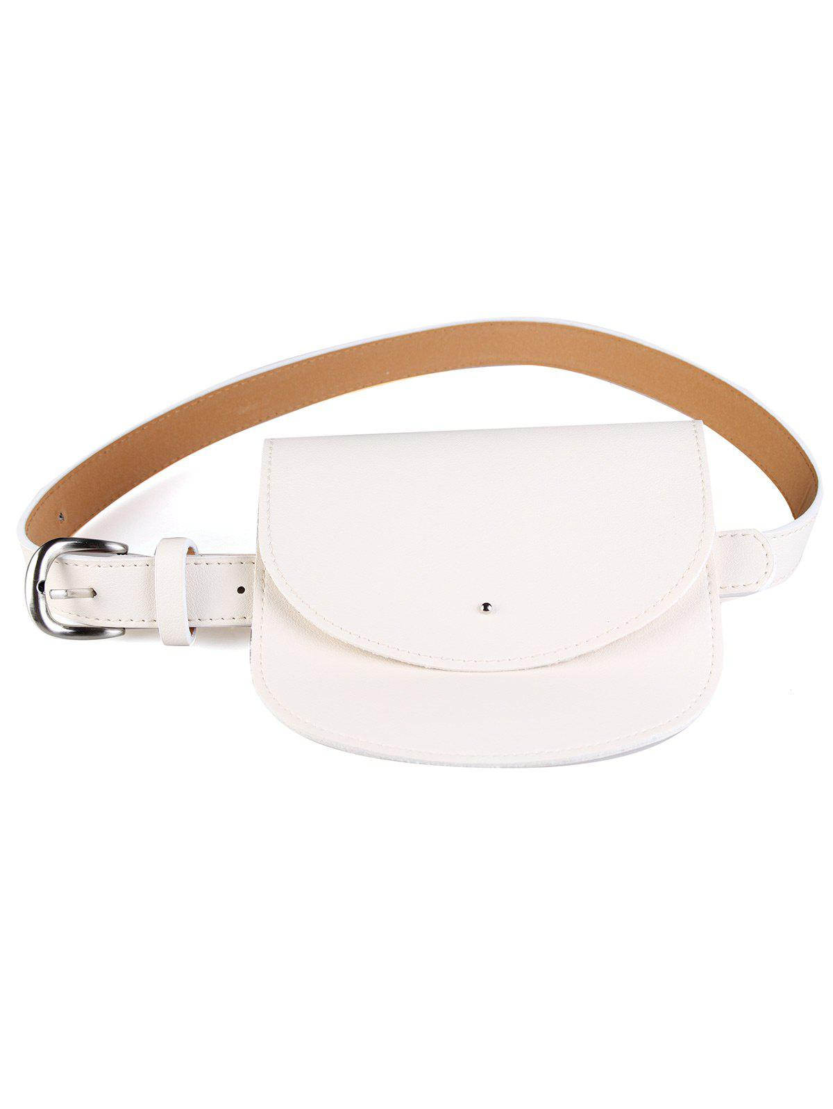 Vintage Mini Bag Embellished Artificial Leather Waist Belt - GLITTER CREAMY WHITE