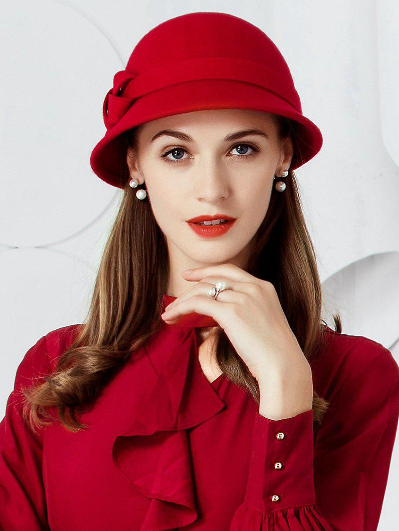 Vintage Bow Embellished Faux Wool Formal Pillbox Hat - RED