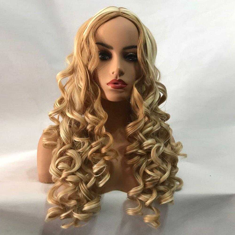 Long Center Parting Fluffy Body Wave Colormix Synthetic Wig - COLORMIX
